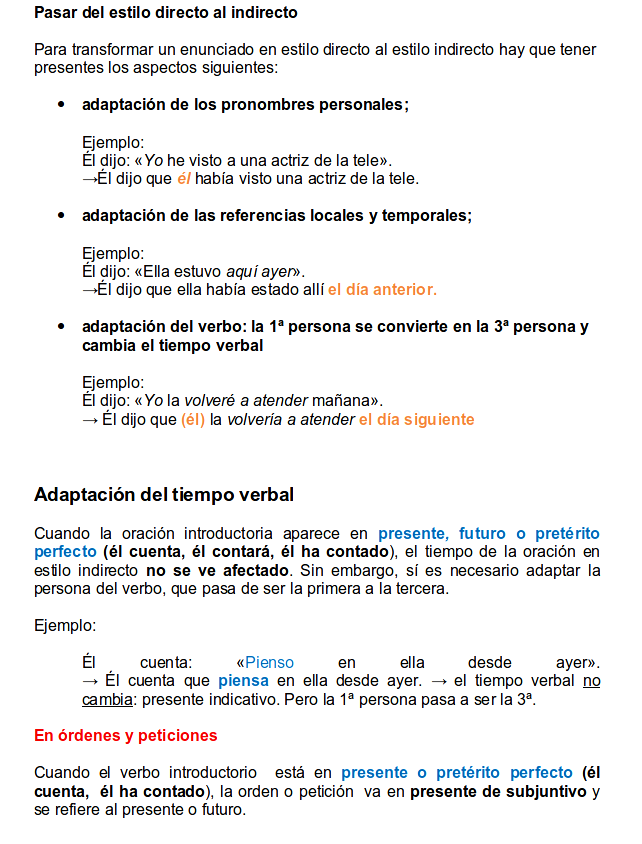 indirect style in spanish part 2