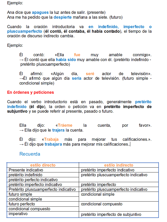 indirect style in spanish part 3