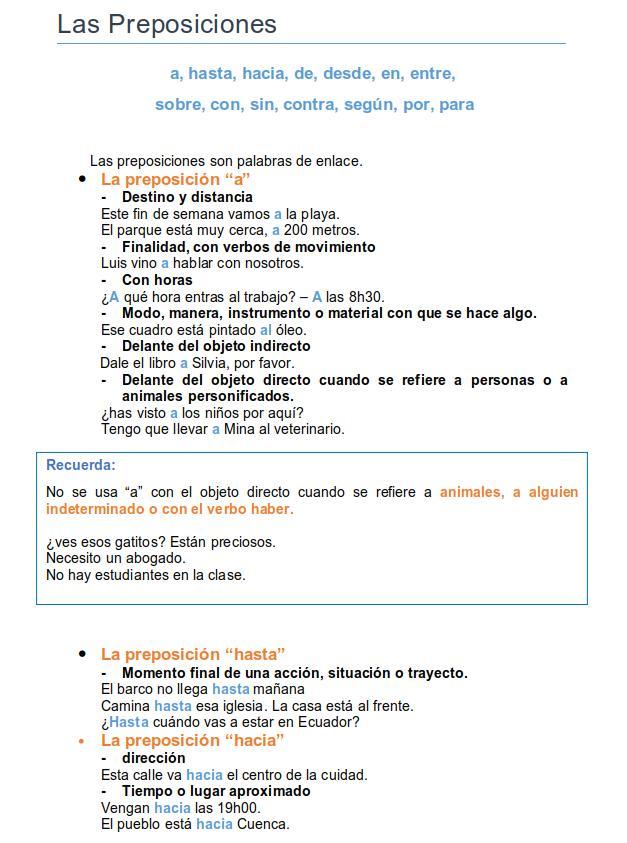 spanish prepositions 1