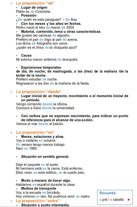 spanish prepositions 2