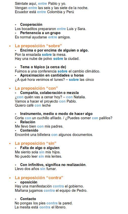spanish prepositions 3